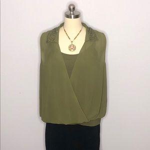 Torrid Sz 2 Army Green Sleeveless Top w/Cami